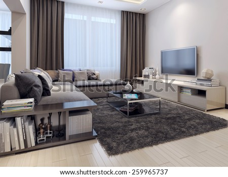 contemporary style living room. Living room contemporary style Modern Room White Sofa Wall Stock Illustration 285773036
