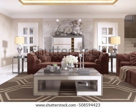 Living Room In Art Deco Style With Upholstered Designer Furniture. With A  Gold Ceiling And