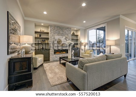 Nice Elegant Living Room Large Fireplace Stock Photo
