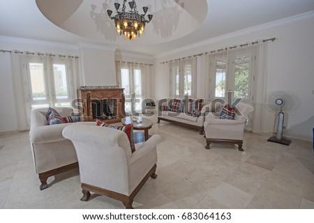 show home interior design. Living room lounge in luxury apartment show home showing interior design  decor furnishing Bedroom Luxury Apartment Show Home Interior Stock Photo 135413135