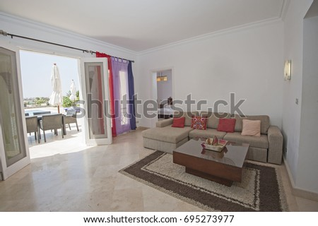 show home interior. Living room lounge in luxury apartment show home showing interior design  decor furnishing Bedroom Luxury Apartment Show Home Interior Stock Photo 135413135
