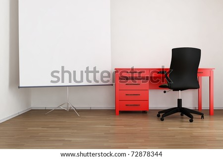 Living Room Setting   Office Table, Chair And Flip Chart To Face A Blank