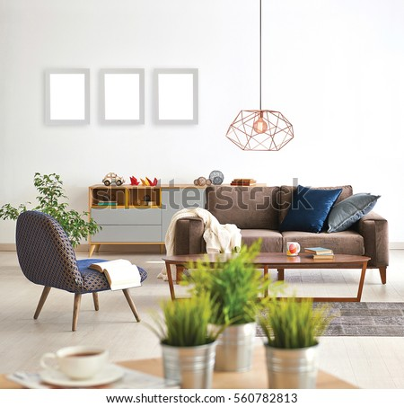 Modern living room sofa armchair vase stock photo for Modern living room vases