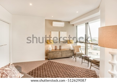 Living Room With City View Near Glass Windows, Tiled Floor Near Walls, Sofa  Set Part 95
