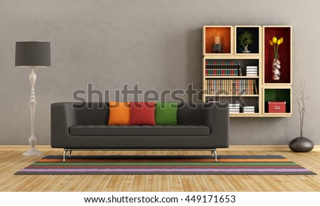Living room with colorful sofa and bookcase on wall - 3d rendering