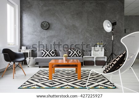 Living Room With Grey Walls And White Wooden Parquet. Black And White  Decorations With Orange Part 95