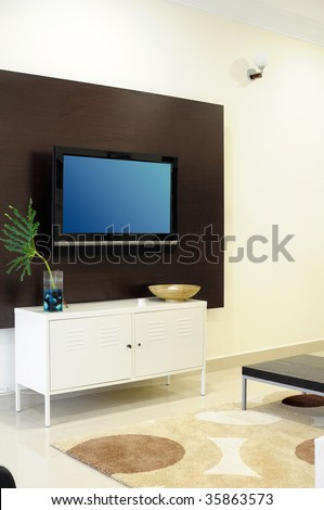Living room with LCD television