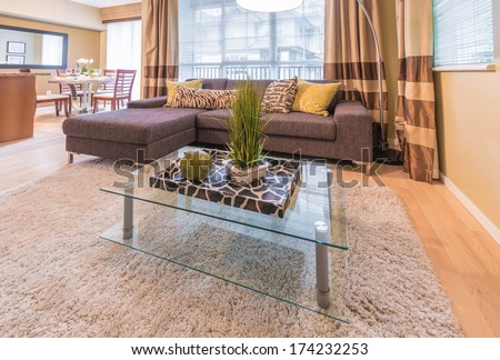 Living room with sofa, couch and coffee table with some  decorations on it. Interior design.