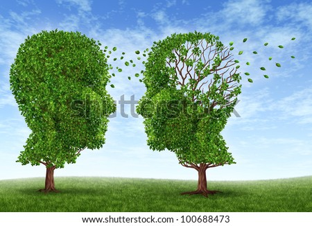 Living with alzheimers disease with two trees in the shape of a human head and brain as a symbol of the stress and effects on loved ones and caregivers by the loss of memory and intelligence.