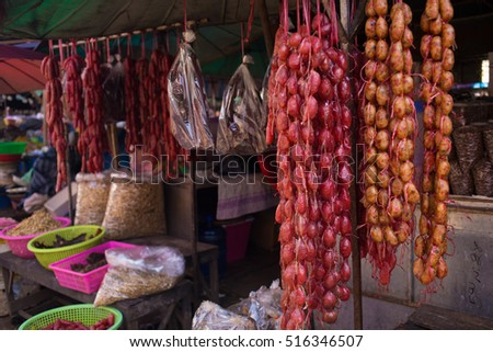 Local food of Laos. Asian food. Street food. National kitchen.Asian market.