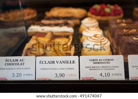 Local patiserie in Paris showing the typical french pastries
