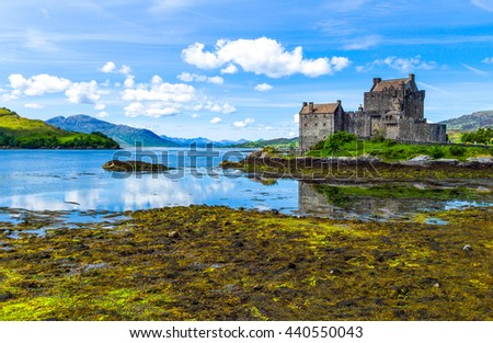 Lochash,  Scotland -  June 20, 2012: Highlands, the Eilean Conan castle.