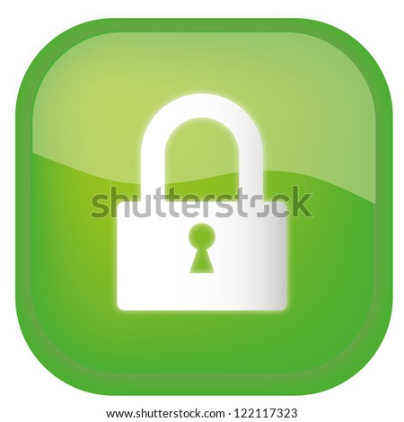 Lock green glossy icon on white background