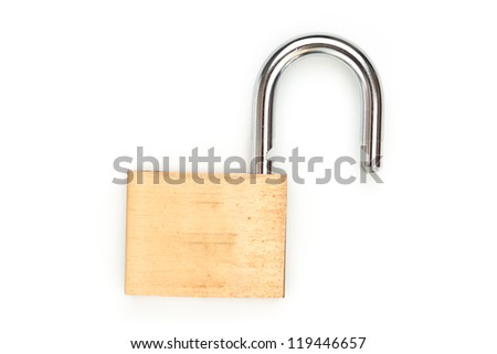 Lock standing unlocked against white background
