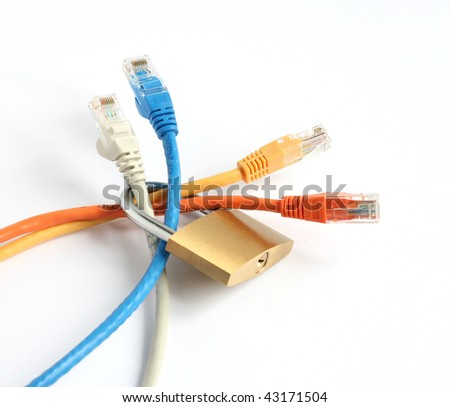 locked closed padlock with red blue yellow and grey computer network cables isolated on white background