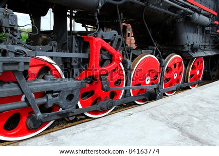 Locomotive`s wheels.