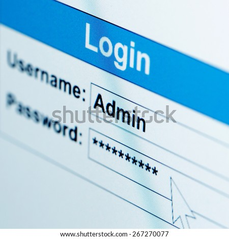 Log-in box on computer screen of admin