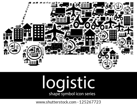 Logistic icon symbols composed in the shape of a delivery van