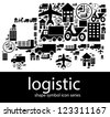 Logistic icon symbols composed in the shape of a lorry - stock photo