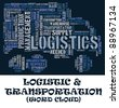 Logistic info-text (cloud word) composed in the shape of a truck transport   on dark background - stock photo