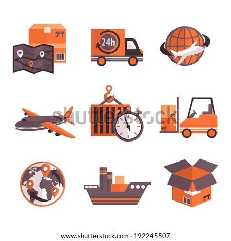 Logistic shipping freight service supply delivery icons set isolated  illustration