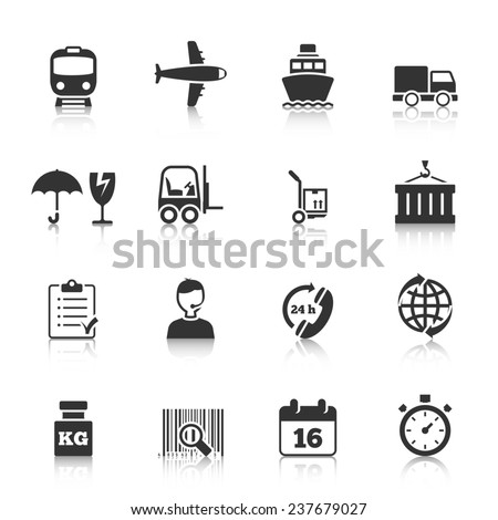 Logistic symbols of packing loading worldwide cargo transportation delivery service black icons set abstract isolated  illustration