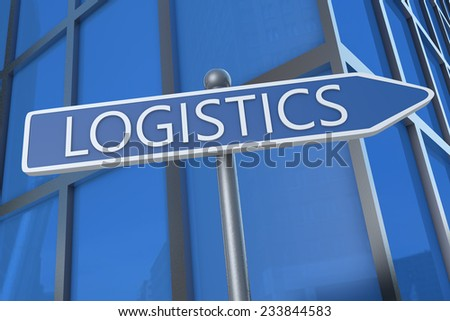 Logistics - illustration with street sign in front of office building.