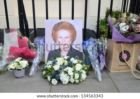 LONDON - APRIL 8: Tributes for Ex British Prime Minster Margret Thatcher Victoria in London April 8th, 2013 in London, England.