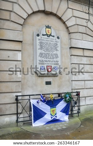 LONDON ENGLAND 28 February 2015: William Wallace memorial of flag london