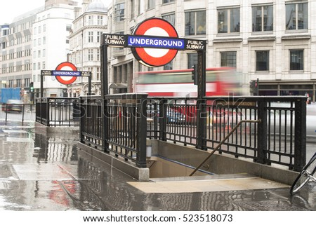 LONDON, ENGLAND UK - NOVEMBER 9, 2013: London underground station entrance