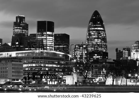 Black White Night Shot City London Stock Photo 54717004 ...  London Skyline Black And White