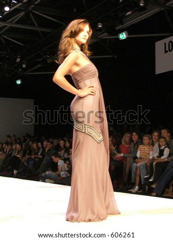 London Fashion Week Spring/ Summer 2006. A piece from  Amanda Wakeley collection. Model Rosie Huntington-Whiteley