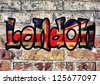 London letters on the brick wall - stock photo