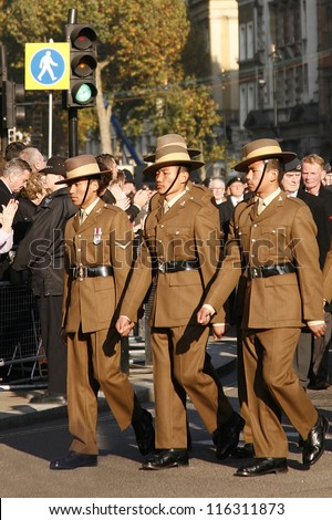 LONDON - NOV 13 : People, Gurkha, take part in Remembrance Day, Poppy Day or Armistice Day, 11th every Nov, to remember armed forces have died since I World War, Parade on Nov 13, 2011, London, UK.