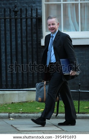 LONDON - OCT 13, 2015: Michael Gove MP seen at Downing Street on Oct 13, 2015 in London
