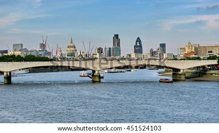 London panorama with Landmarks and Waterloo Bridge over the Thames