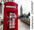 London Red Telephone Booth and Big Ben - stock photo
