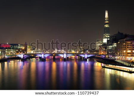 London River Thames View at Night towards Tower Bridge
