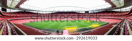 LONDON, UK - APRIL 16, 2015: Panorama of Emirate stadium, the home of Arsenal football club in London. the Emirates is the third-largest football stadium in England after Wembley and Old Trafford.