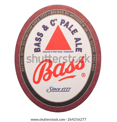 LONDON, UK - DECEMBER 11, 2014: Beermat of British beer Bass isolated over white