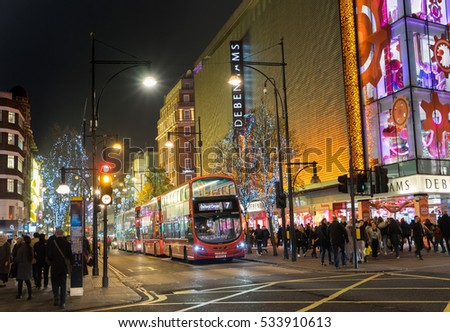 London, UK - December 8th, 2016: Oxford Street decorated for Christmas.
