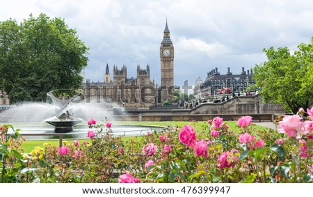 London, UK-July 13, Big Ben, July 13.2016 in London, Fountain, Big Ben and Houses of Parliament. London, England., UK, view from the park