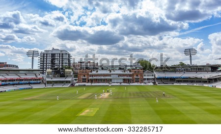 LONDON, UK - JULY 21, 2015: The Victorian-era Pavilion at Lord's Cricket Ground in London, England. It is referred to as the home of cricket and is home to the world's oldest cricket museum.
