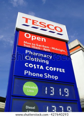 London, UK, June 14, 2011 : A Tesco petrol station sign showing its company logo and petrol price at its Perivale supermarket on the Western Avenue
