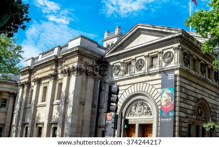 LONDON, UK - JUNE 4, 2015:  National Portret Gallery  at morning time on blue sky background. The Gallery was founded in 1856 to collect portraits of famous British men and women.