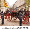 LONDON,UK- NOVEMBER 13: Dignitaries of the City Of London Riding in Their Historic Carriage, Accompanied by Cadets.the 795th Lord Mayor's Show on November, 13 2010 in London - stock photo