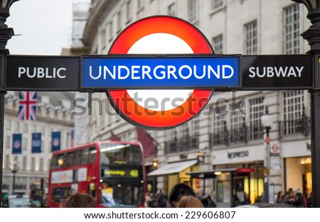 LONDON, UK - OCTOBER 17, 2014: Piccadilly Circus street underground tube station on October 17, 2014 in London, England. London's underground railway is the oldest in the world, dating back to 1863.