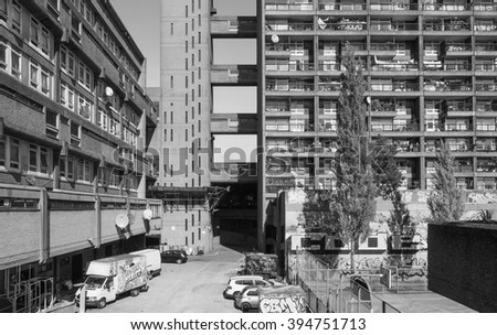 LONDON, UK - SEPTEMBER 28, 2015: The Trellick Tower designed by Erno Goldfinger in 1964 is a masterpiece of new brutalist architecture in black and white