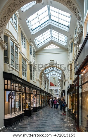 London, United Kingdom - 07 09 2016: Tourists at Burlington Arcade,with luxury shops
