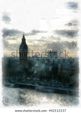 London watercolor illustration